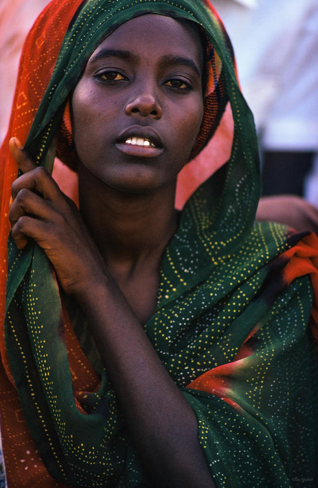Young Woman Portrait, Green and Red Dress, Somalia