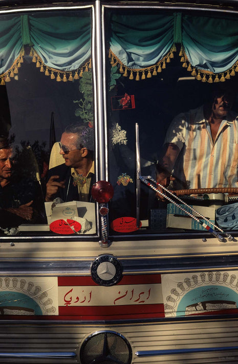 Close-up, Front of Bus, Driver and Passengers, Iran