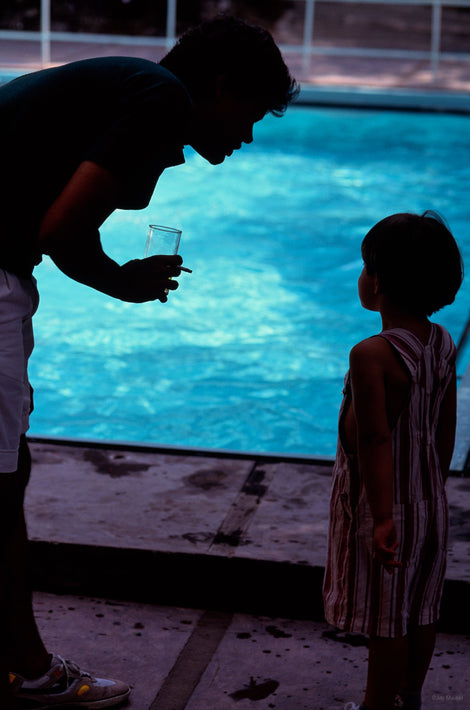 Silhouette of Father and Child at Pool, Rio de Janeiro