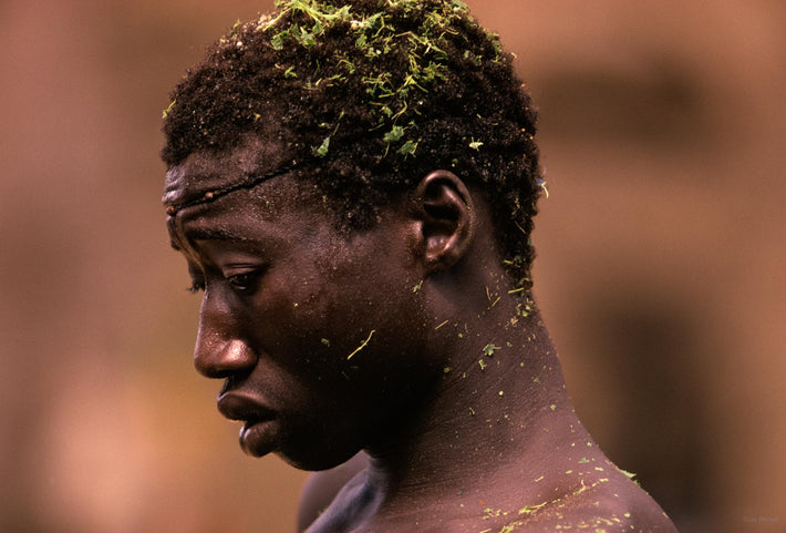 Senegalese Lutte Wrestling, Man with Green in Hair, Senegal