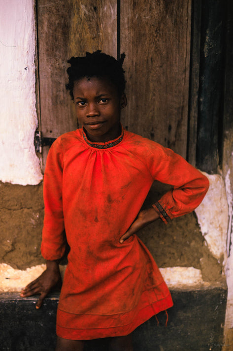 Young Girl in Red-Orange Top, Liberia