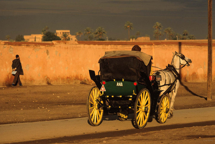 Horse and Carriage with Figure in Background, Marrakech