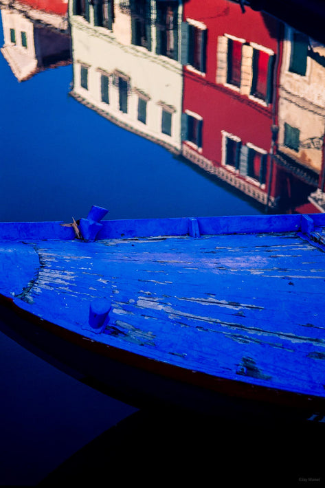 Blue Bow of Boat, Red and White Buildings Reflections, Burano