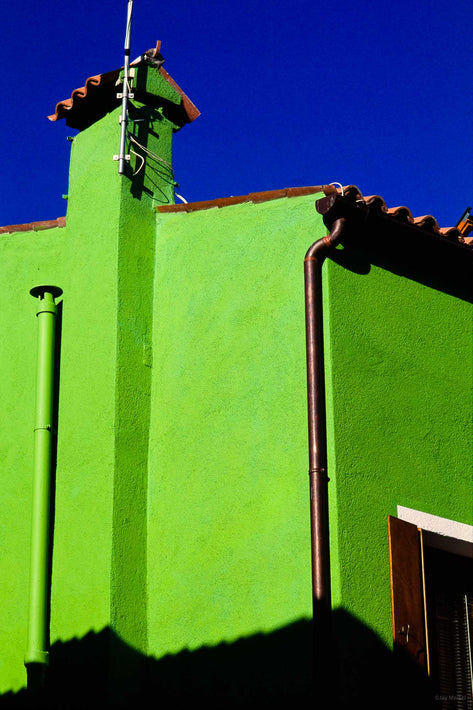 Intense Chartreuse Building and Blue Sky, Burano