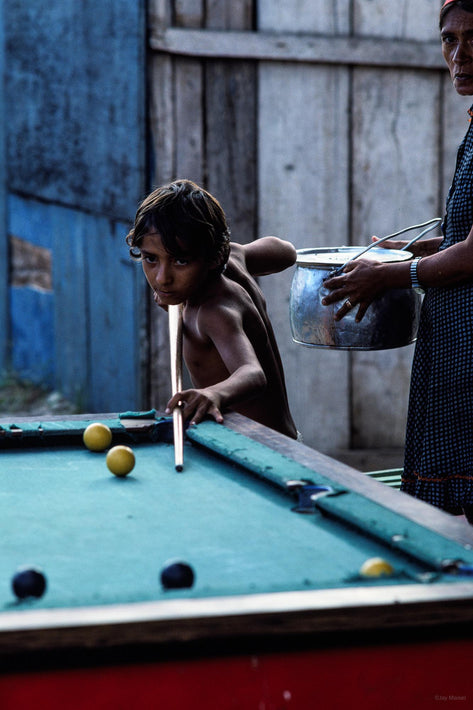 Boy Playing Pool, Woman Watching, Bahia