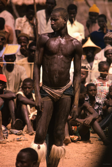 Senegalese Lutte Wrestling, Young Man Standing, Sweating, Senegal