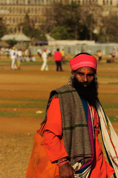 Man, Red on Head on Cricket Field, Mumbai
