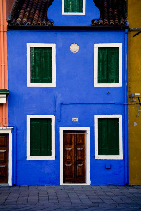 Blue Building, White Window Frames, Burano