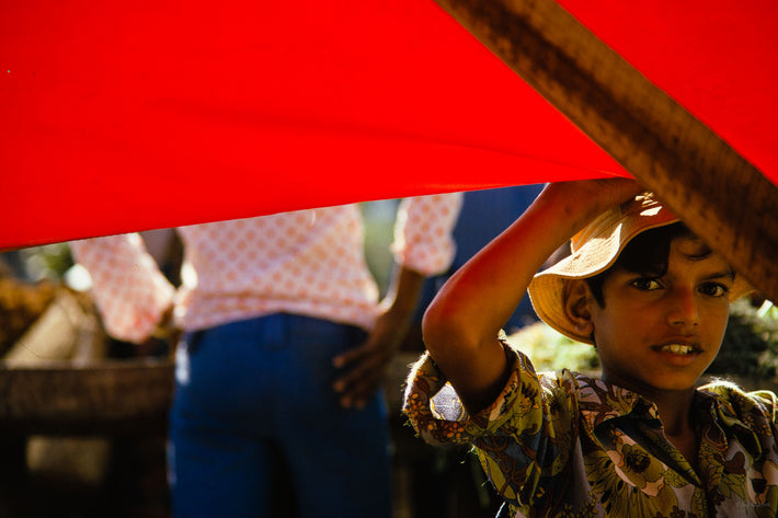 Boy's Face, Red Fabric, Mauritius