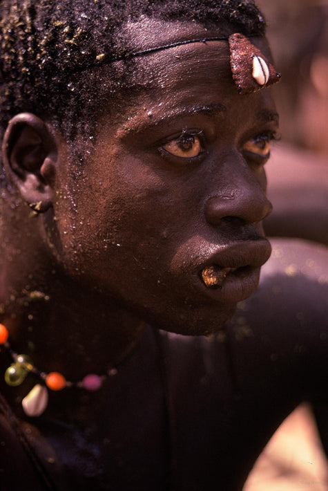 Senegalese Lutte Wrestling, Close-up, Cowrie Shell on Forehead, Senegal
