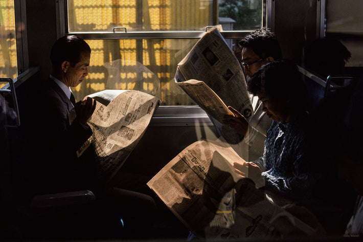 Commuters with Backlit Newspapers, Kamakura