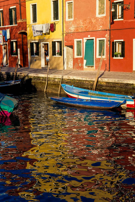 Multicolored Buildings, Fractured Reflections, Burano