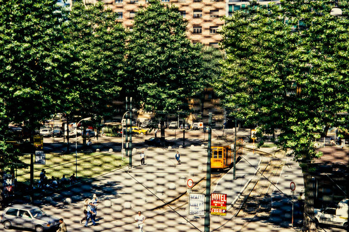 Street through Wire Window, Milan