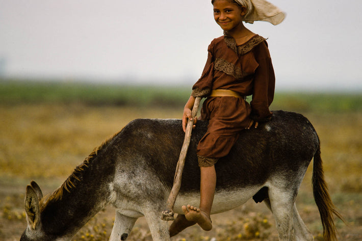 Smiling Girl on Donkey, Marrakech
