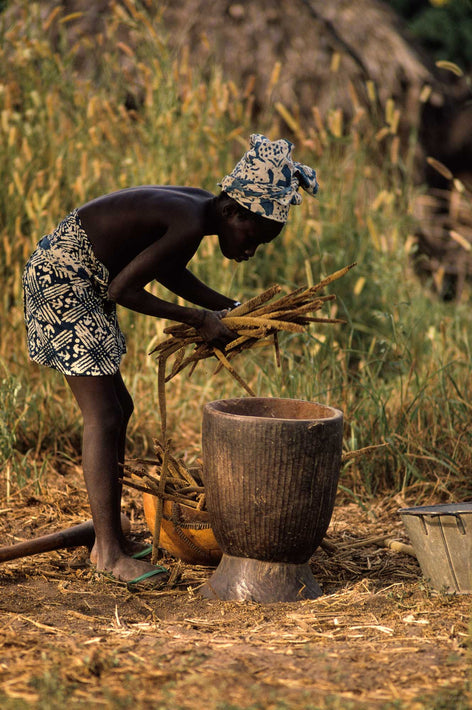 Woman putting Plants in Pot, Senegal