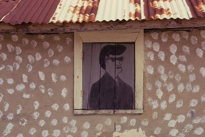 House with Painted Portrait on Shutter, Liberia