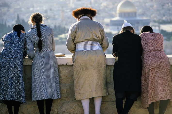 Chasidic Family with Dome of the Rock in Background