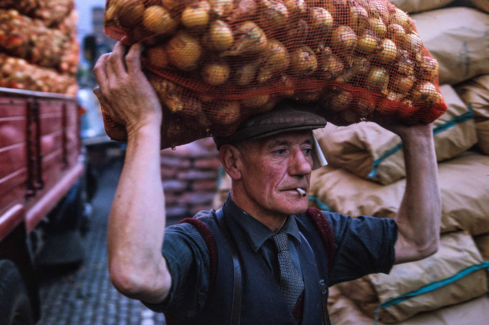 Man Carrying Onions on Head, London