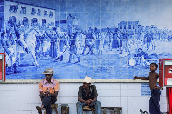 Gas Station with Pumps, People, Mural, Bahia