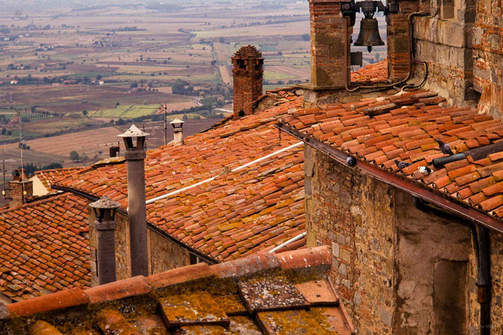 Tile Roof with Farmland in Background, Cortona
