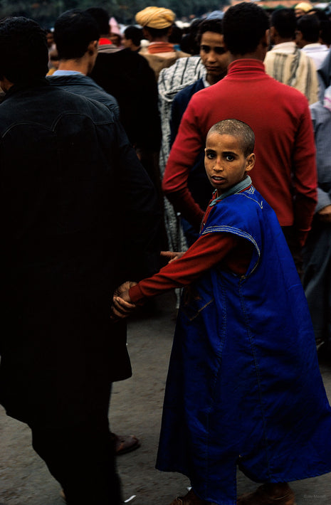 Boy in Blue Holding Father's Hand, Marrakech