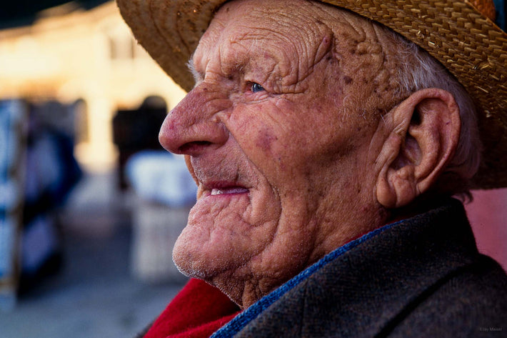 Close-up Portrait, Smiling Old Man in Straw Hat, Burano