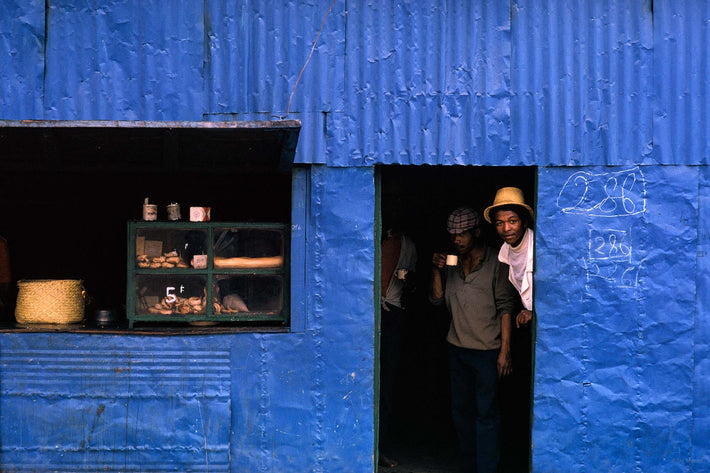 Two Men in Blue Building, Antananarivo
