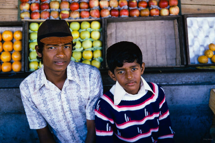 Two Boys with Display of Fruits, Mauritius