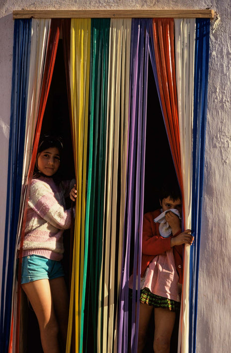 Two Girls in Doorway, Stripes, Portugal