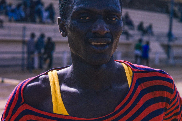 Man in Striped Red and Blue with Yellow, Senegal