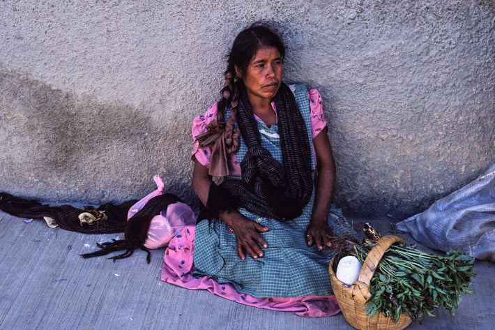 Woman with Basket Against Wall, Oaxaca