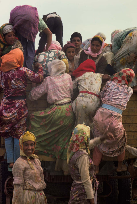 Group of Women Climbing onto Truck, Marrakech
