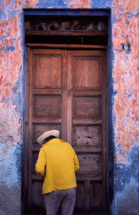 Yellow Sweater Against Door, Oaxaca