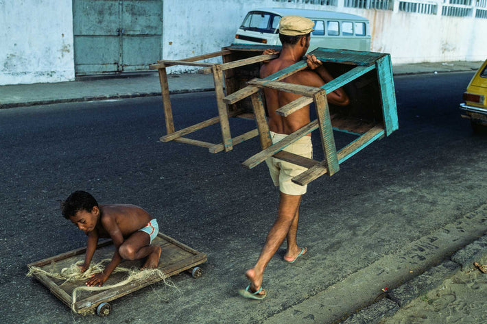 Man Carrying Tables, Boy on Dolly, Bahia