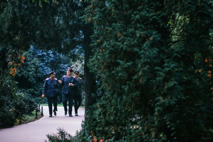 Three Military Officers in Park, Romania