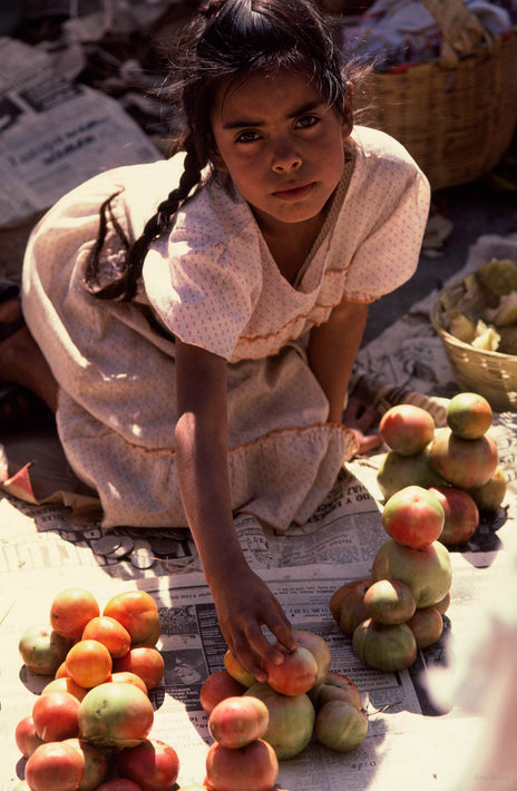 Girl on Knees with Miscellaneous Fruit, Oaxaca