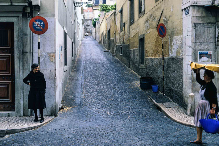 Street, Woman with Tray on Head, Portugal