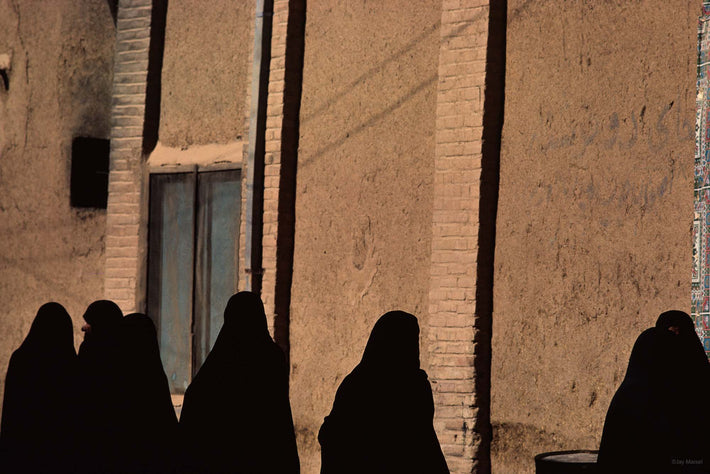 Row of Women All in Chadors, Iran