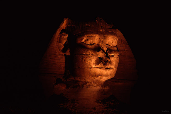 Sphinx, Lit at Night, Egypt