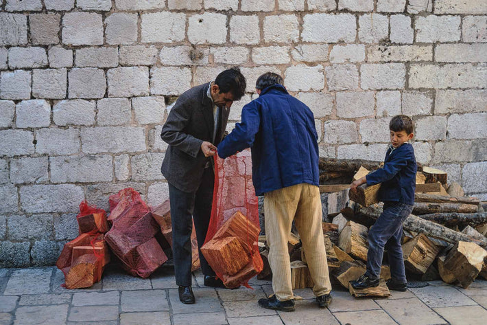 Three with Bags, Wood, Dubrovnik
