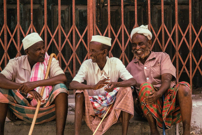 Three Men in Front of Fence, Somalia