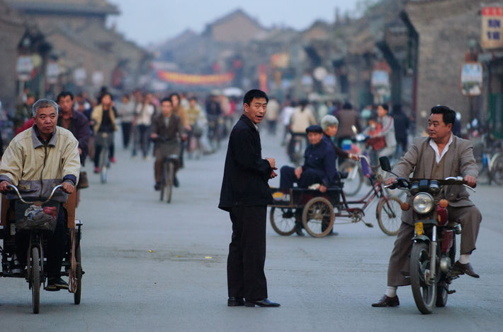 Telephoto Shot of Street, Figure in Black, Pingyao