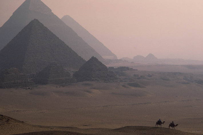 Pyramids, Soft Light with Two Camels, Egypt