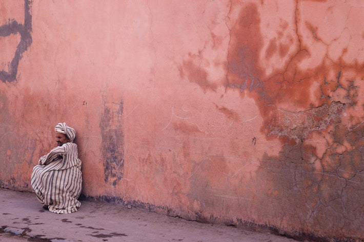 Pink Wall, Man with Striped Djellaba, Marrakech