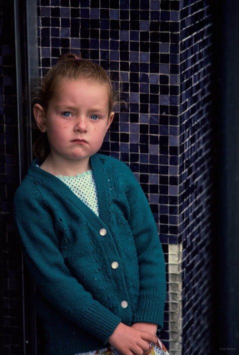 Young Girl Poses in Green Sweater, Ireland