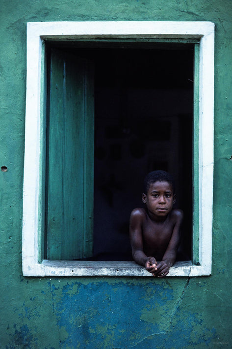 Boy in Window, Greenish Wall, Bahia