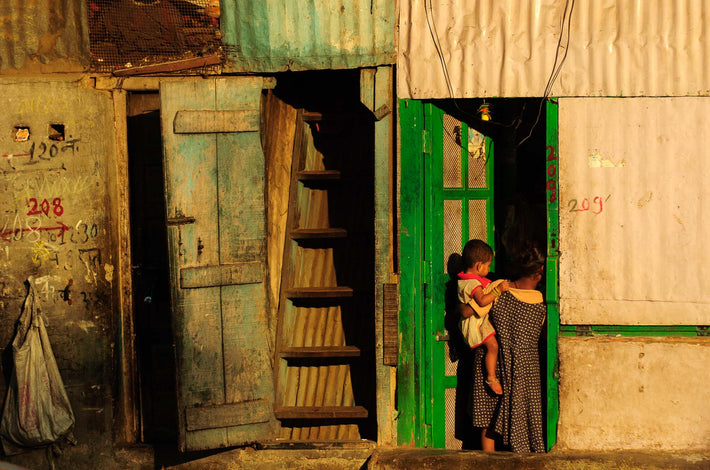Woman and Child in Green Trim Doorway, Mumbai