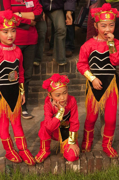 Three Children in Red Costumes, Pingyao