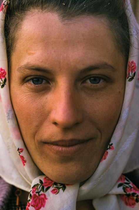 Portrait of Woman in Head Scarf, Romania