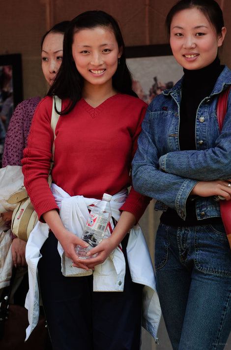 Three Young Women, Two Smiling, Pingyao